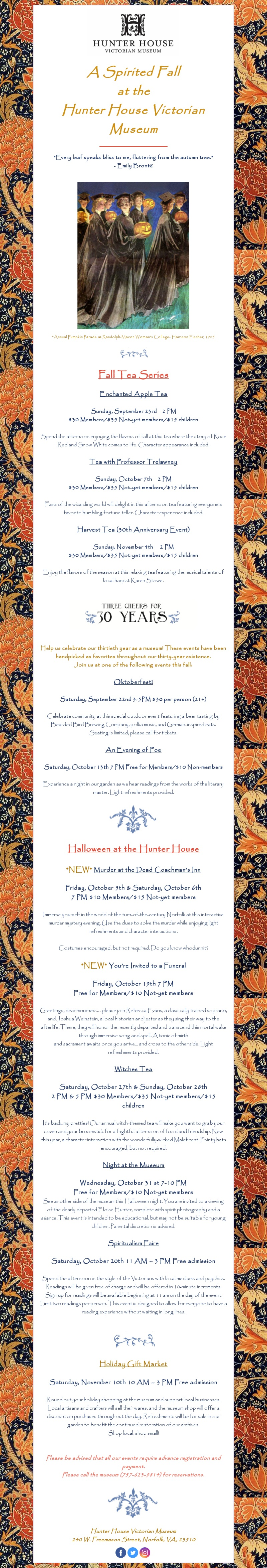 Fall 2018 Events at the Hunter House Victorian Museum